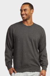 12 Bulk Mens Light Weight Fleece Sweatshirts In Charcoal Grey Size Large