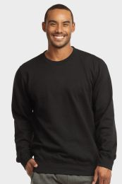 12 Bulk Mens Light Weight Fleece Sweatshirts In Black Size Large