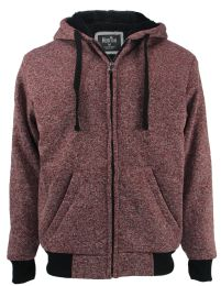 12 Bulk Mens Marled Zip Up Fleece Lined Hoody Plus Size In Red