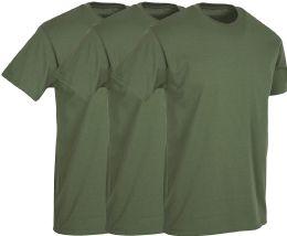 3 Bulk Mens Military Green Cotton Crew Neck T Shirt Size Large