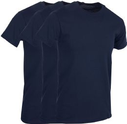 3 Bulk Mens Navy Blue Cotton Crew Neck T Shirt Size Medium