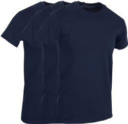 3 Bulk Mens Navy Blue Cotton Crew Neck T Shirt Size Large