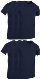 6 Bulk Mens Navy Blue Cotton Crew Neck T Shirt Size X Large