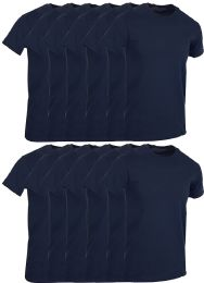 12 Bulk Mens Navy Blue Cotton Crew Neck T Shirt Size Large