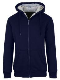 12 Bulk Mens Navy Fleece Line Sherpa Hoodies Size XL