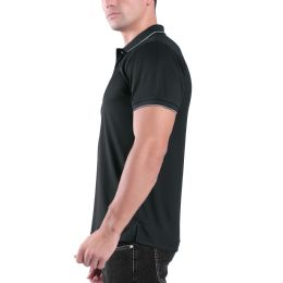 24 Bulk Mens Waffit Polo Tee Shirt In Charcoal Plus Size