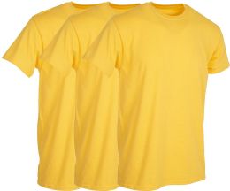 3 Bulk Mens Yellow Cotton Crew Neck T Shirt Size Medium