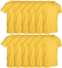 12 Bulk Mens Yellow Cotton Crew Neck T Shirt Size Medium