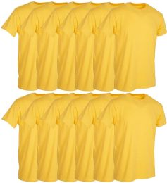 12 Bulk Mens Yellow Cotton Crew Neck T Shirt Size 2X Large
