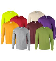 72 Bulk Mill Graded Gildan Irregular Adults Long Sleeve T-Shirts Assorted Colors And Sizes