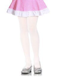 72 Bulk Mopas Girl's Plain Tights In White In Size Medium