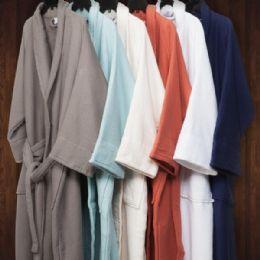 2 Bulk Long Staple Cotton Unisex Waffle Weave Bath Robe In Aqua Blue