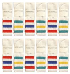 24 Bulk Yacht & Smith Men's 30 Inch Cotton King Size Extra Long Old School Tube SockS- Size 13-16
