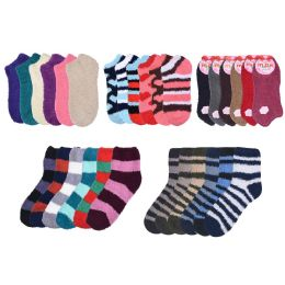 72 Bulk Socks Women's Warm Fuzzy Slipper Soft Plush Cozy Casual