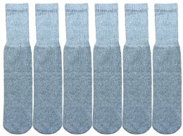 6 Bulk Yacht & Smith Kids Solid Tube Socks Size 6-8 Gray
