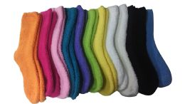 48 Bulk Yacht & Smith Women's Solid Colored Fuzzy Socks Assorted Colors, Size 9-11