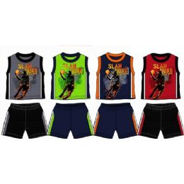 48 Bulk Spring Boys Close Mesh Short Sets 8-16