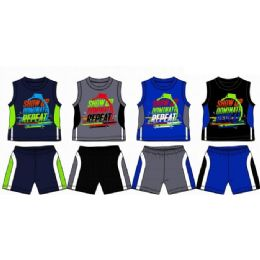 48 Bulk Spring Boys Jersey Top With Close Mesh Short Sets Size Toddler