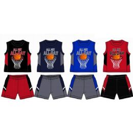 48 Bulk Spring Boys Jersey Top With Close Mesh Short Sets Size Infant
