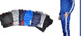 12 Bulk Tricot Mens Jacket And Jogger Set In Solid Color Assorted Sizes