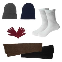 96 Bulk Unisex Socks (size 10-13), Winter Gloves, Scarf, Beanie In 5 Assorted Colors
