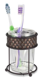 12 Bulk Home Basics Basket Weave Toothbrush Holder