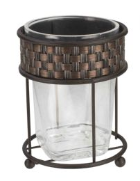 12 Bulk Home Basics Basket Weave Tumbler, Bronze