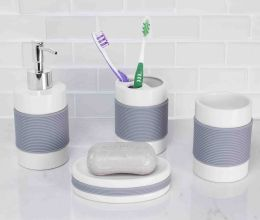 12 Bulk Home Basics 4 Piece Bath Accessory Set With Rubber Grip