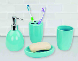 12 Bulk Home Basics 4 Piece Bath Accessory Set, Turquoise