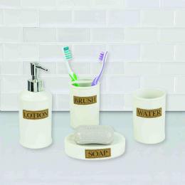 12 Bulk Home Basics 4 Piece Dolomite Bath Accessory Set, White