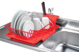 6 Bulk Home Basics Vinyl Coated Steel Dish Drainer, Red