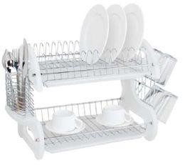 6 Bulk Home Basics 2 Tier Plastic Dish Drainer, White