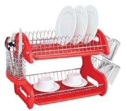 6 Bulk Home Basics 2-Tier Plastic Dish Drainer