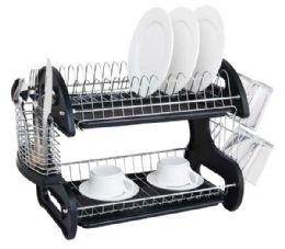6 Bulk Home Basics 2 Tier Plastic Dish Drainer, Black