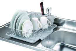 6 Bulk Home Basics 3 Piece Vinyl Coated Steel Dish Drainer With Drip Tray, Silver