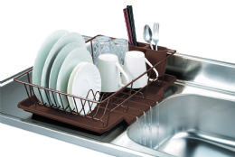 6 Bulk Home Basics 3 Piece Vinyl Coated Steel Dish Drainer With Drip Tray, Brown