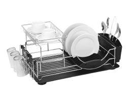 6 Bulk Home Basics 2-Tier Deluxe Dish Drainer