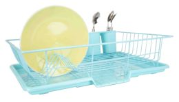 6 Bulk Home Basics 3 Piece Dish Drainer, Turquoise