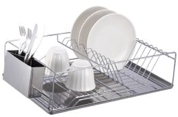 6 Bulk Home Basics Chrome Plated Steel Dish Rack With Tray