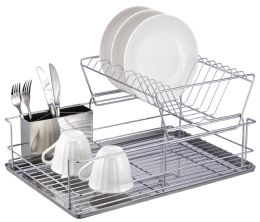 6 Bulk Home Basics 2-Tier 3 Piece Steel Dish Drainer