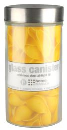 120 Bulk Home Basics Large 54 Oz. Round Glass Canister With AiR-Tight Stainless Steel Twist Top Lid, Clear