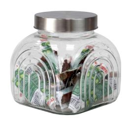 6 Bulk Home Basics Heritage 2.5 Lt Glass Jar With Silver Lid