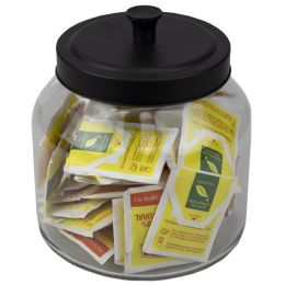4 Bulk Home Basics Artisan 1.9 Lt Glass Jar With Black Top