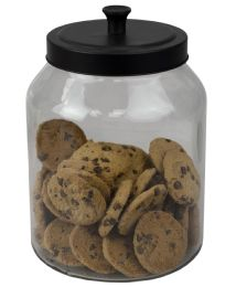 4 Bulk Home Basics Artisan 3 Lt Glass Jar With Black Top