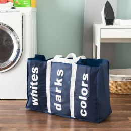 24 Bulk Sunbeam Navy 3 Section Laundry Bag