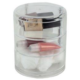12 Bulk Home Basics 3 Tier Swivel ShatteR-Resistant Plastic Cosmetic Organizer, Clear