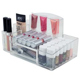 12 Bulk Home Basics Deluxe Medium ShatteR-Resistant Plastic MultI-Compartment Cosmetic Organizer With Easy Open Drawer, Clear