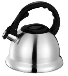 12 Bulk Home Basics 3.0 Liter Brushed Stainless Steel Tea Kettle With Easy Grip Textured Handle, Silver