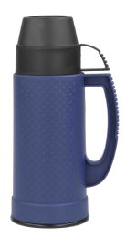 12 Bulk Home Basics .5 Liter Plastic And Glass Insulated Travel Mug, Blue