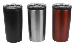 12 Bulk Home Basics 20 Oz. Stainless Steel Travel Mug With NoN-Slip Base
